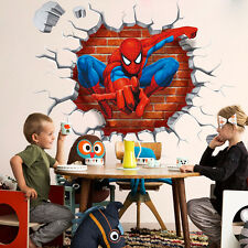 Kid Boy Bedroom Decor 3D Spiderman Wall Stickers Removable Mural Paper Decals