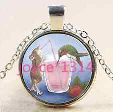 Hummingbird and mice Cabochon Tibetan silver Glass Chain Pendant Necklace #2104
