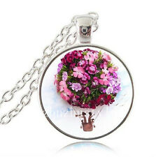 NEW Flower Hot Air Balloon Cabochon Glass Tibet Silver Chain Pendant Necklace
