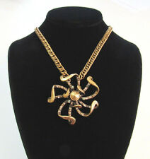 NEW WITH TAGS BCBG GENERATION MOD BRUTALIST PENDANT & CHAIN BRASS CRYSTAL 31.5""