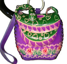 Handmade Leather Coin Purse W/wristlet Strap, Purple base, Snake Pattern.