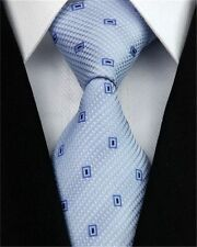 PRICED TO CLEAR!! Mens Classic All Over Square Check Silk Necktie Tie Light Blue