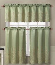 Sage Green Embroidered Floral 3 Pc Kitchen Tier Valance Curtain Set Aileen