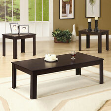 Simple Classic 3 PC Casual Occasional Dark Walnut Coffee End Wooden Table Set
