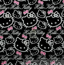 BonEful Fabric FQ Cotton Quilt Flannel Black Pink HELLO KITTY B&W Girl Word Bow