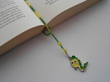 BEADED BOOKWORM CHARM PAGE KEEPER BOOKMARK GREEN / YELLOW SEED BEADS