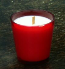SINGAPORE ORCHIDS & SANDALWOOD Scented SOY WOOD WICK JAR CANDLE Sm RED Glass