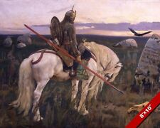 VIKING STYLE KNIGHT IN ARMOR ON HORSE WITH SPEAR PAINTING ART REAL CANVAS PRINT