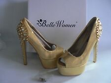 Belle Women Gold Studded Platform Heel Shoes Peep Toe UK 3 - EU 36 NEW BOXED