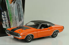 1970 DODGE Challenger Orange Black vinil roof presque and & furious 1:18 Greenlight