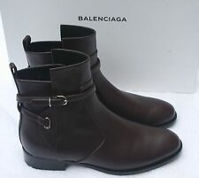 NIB Balenciaga Chelsea Papier Prune Leather Buckle Ankle Boot Shoes  37.5/7.5