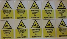 Set of 10 CCTV Security Stickers -7x5cm - cctv warning sign sticker pack signage