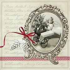 4x Carta Singola Tavola Festa Tovaglioli per Decoupage Decopatch Lettera di Natale