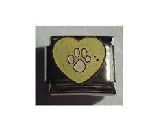 9mm Classic Size Italian Charm E22  Yellow Paw Cat Dog Paw Print