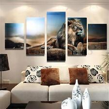 5PCS Tableau Peinture à l'huile Toile Lion Art Moderne Décor Mur Salon Chambre