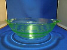 Antique Depression Vaseline Glass Green Small Mixing Bowl Ribbed Pattern