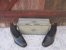 Antique Edwardian Mens Dack' s leather button high top dress shoes Custom made