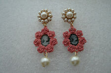 LOVELY ANTHROPOLOGIE PINK CAMEO LADY WHITE PEARL DROP DANGLE EARRINGS  NEW