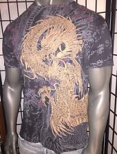 AFFLICTION LARGE SHIRT,JAPANESE SCROLL,IREZUMI,TATTOO,SAMURAI,MMA,DRAGON