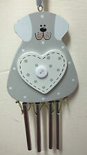 Grey Wooden Cute Dog Wind Chime with Button detail ~ Home Wall Hanging 16600