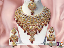 BOLLYWOOD INDIAN BRIDAL GOLD PLATED KUNDAN NECKLACE SET JEWELRY EARRINGS TIKKA
