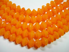 28 7mm Czech Glass Tangerine Orange Opal Saturn Saucer Beads