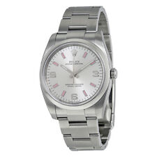 Rolex Airking Silver Arabic Pink index Dial Domed Bezel Mens Watch 114200SAPSO