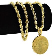 "50 Peso Mexico Centenario Stainless Steel Coin Replica 24"" Rope Chain Gold Plate"