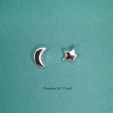 925 Sterling Silver Moon Crescent/ Star Kids Girl Women Stud Earrings Jewellery