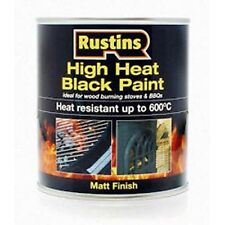 Rustins High Heat Paint 250ml Matt Black Up To 600 Degrees Stove/BBQ/Chimney
