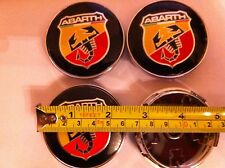 ABARTH FIAT ALLOY WHEELS CENTER CAPS SET (4) Face 60mm Clip 58mm