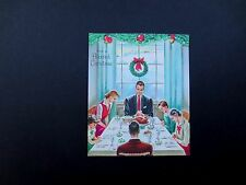 Vintage Unused Xmas Greeting Card Young Family Saying a Prayer at Dinner Table