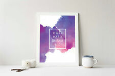Watercolour Mini Print Inspiration Quote Typography Wall Home Decor Art Office