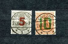 POLAND 1919 GNIEZNO GERMANIA OVERPRINT ISSUE SET SCOTT 77-78 VFU SEE SCAN (2)