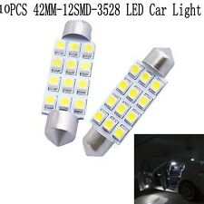 10Pcs 12SMD 42MM 3528 White LED Light Auto Lamp Car Interior Festoon Dome Bulbs