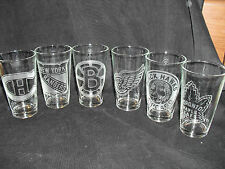 ORIGINAL SIX RETRO ETCHED PINT GLASSES RED WINGS BRUINS LEAFS RANGERS BLACKHAWKS