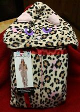 French Jenny Cat Eyes Leopard Hooded Footed Pajamas Pink Purple NWT L LAST ONE