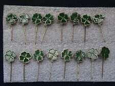 lot vintage bronze badges pins green four-leaf clover 16 pcs very rare pins