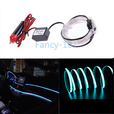 1X 3M Car LED EL Wire Cold Light Glow Flexible Atmosphere Decor Lamp12V Iceblue
