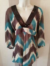 Wallis size 18 Brown Cream Blue V Neck Sequin Detail Top Sheer Floaty