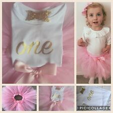 Boutique Girls First 1st Birthday Tutu Skirt Outfit Set Baby Pink & Gold Bow