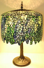 "Tiffany Style Stained Glass Blue Wisteria Table Lamp 18"" Shade Handcrafted New"