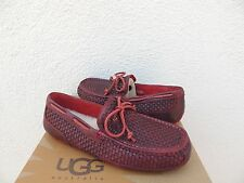 UGG MATADOR RED CHESTER WOVEN LEATHER/ SHEEPSKIN MOCCASIN LOAFERS, US 9/ 42~ NEW