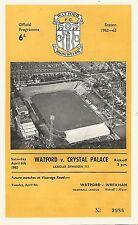 Watford v Crystal Palace - Div 3 - 6/4/1963 - Football Programme