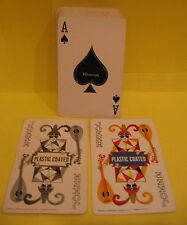 Vintage Whitman Plastic Coated Playing Cards Floral Design W/Jokers Used