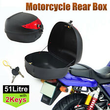 Large 51L Motorcycle Scooter Topbox Rear Storage Luggage Top Tail Box Two Keys
