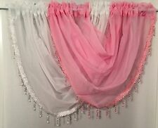 Beaded swags and voile panels set white & red, Lots Of Colours Available