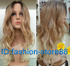 2015 Ladies Front lace Wigs Curly Long Wavy hair brown Golden Blonde mixed wig