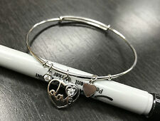 Sterling Silver Heart Love Charm Expandable Bangle Bracelet Adjustable with CZ