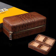 Holder 6 Cigars COHIBA Brown Leather Cedar Wood Travel Cigar Case Humidor